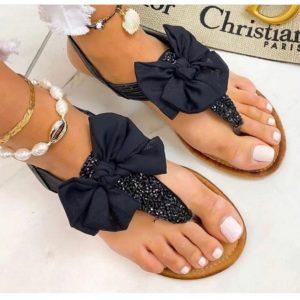 sandalen, zwarte sandalen, strass, strikje